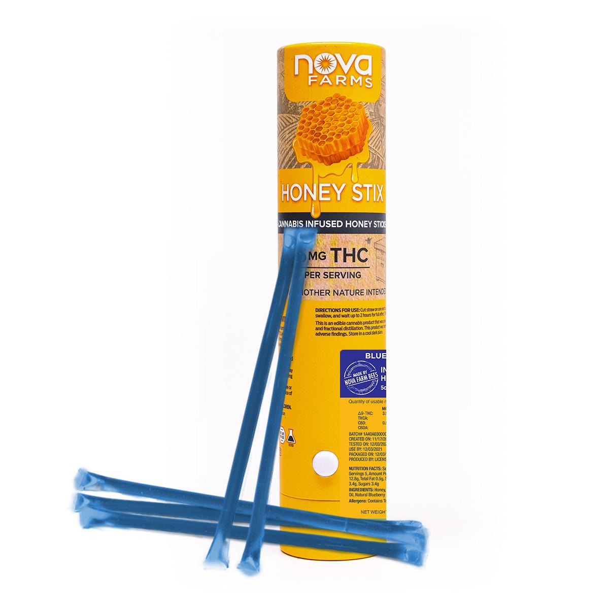 Nova Farms Honey Sticks 5pk (25mg) Blueberry (Recreational use)